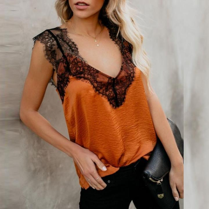 Fashion Loose Lace Lace Sleeveless Strapless T-Shirt
