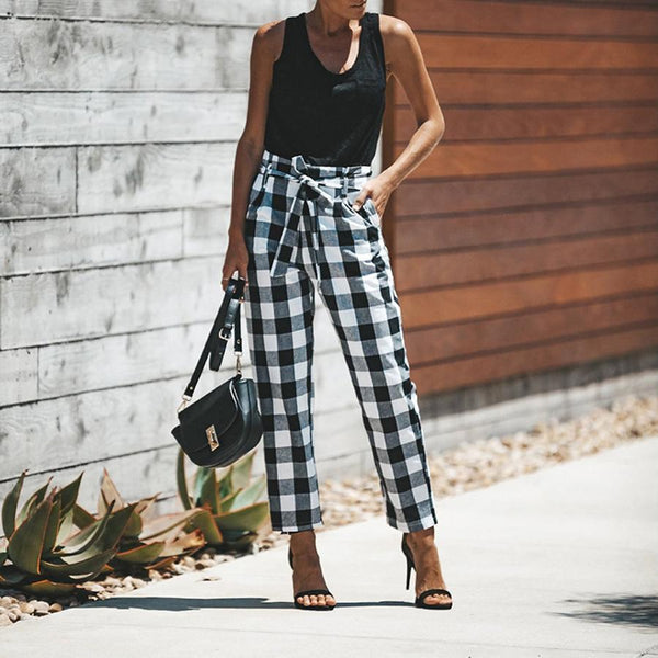 Casual Fashion Printed Plaid Pants