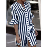 Women Striped Crew Neck Bell Sleeve Shirt Dress