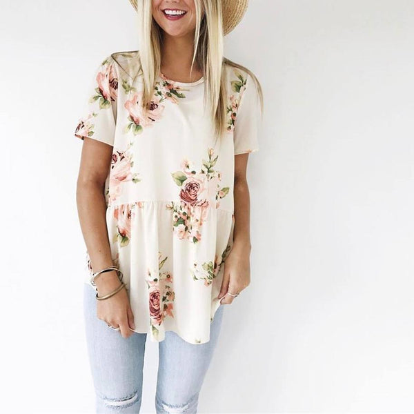 Loose Flower Printed Blouse