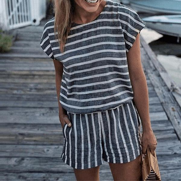 Fashion Short Sleeve Stripe Jumpsuits