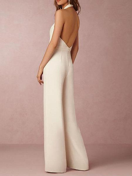 Sleeveless Casual Spandex Elegant Jumpsuit