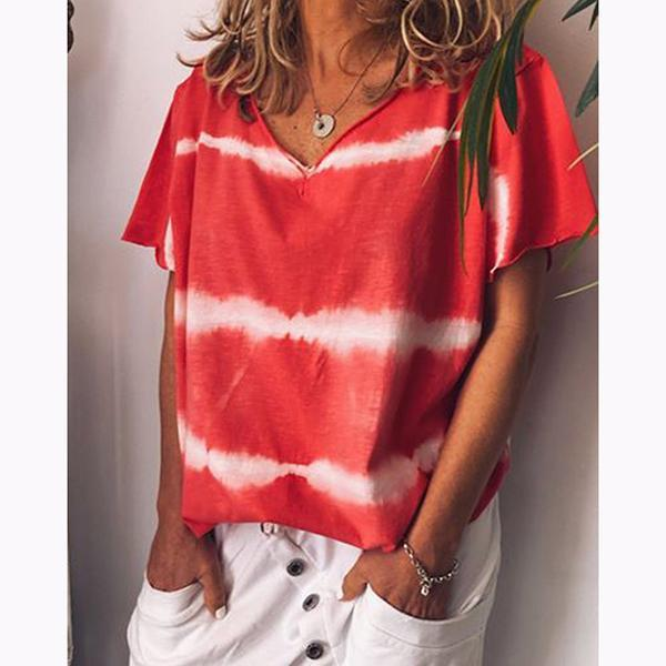 Casual Stripe Short Sleeve Round Neck Blouse
