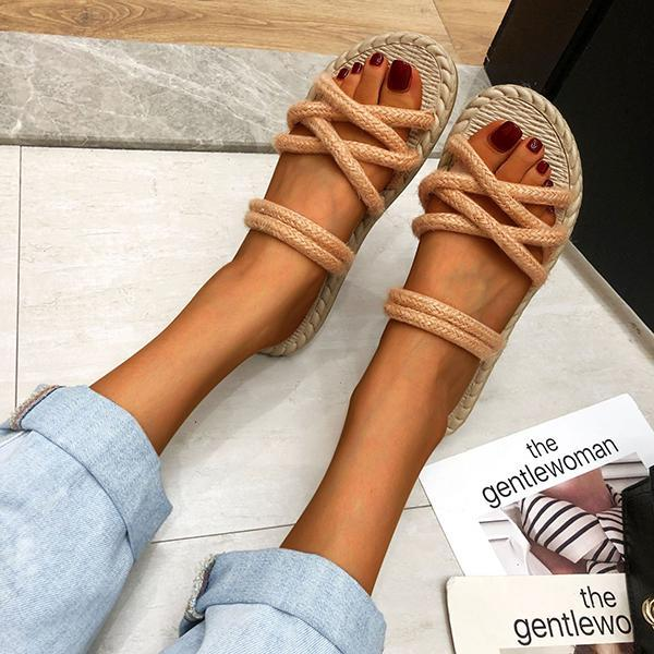 Casual Vacation Flat Woven Sandals