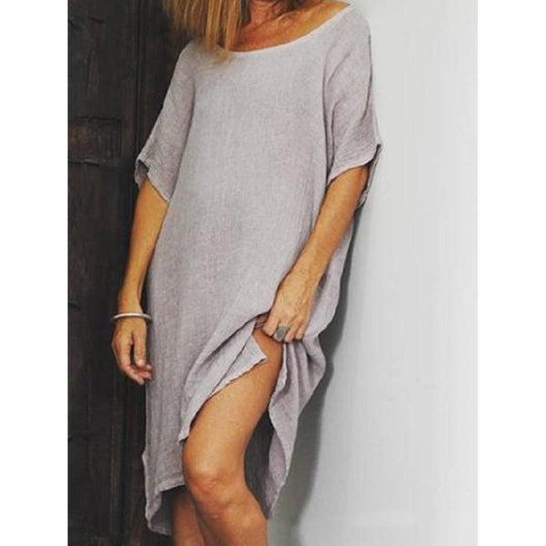Solid Color Round Neck Casual Split Dress