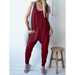 Casual Large Size Solid Color Jumpsuit