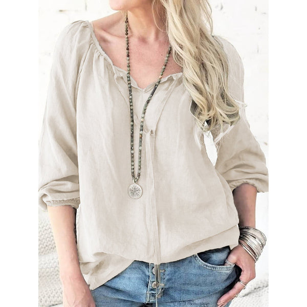 Solid 3/4 Sleeve Plus Size Blouses