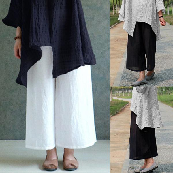 Plus Size Solid Casual Linen Pants