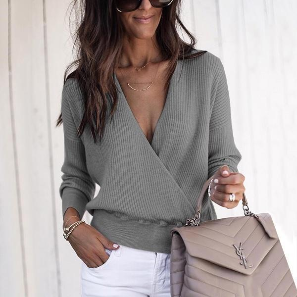 Fashion Long Sleeved V Neck Cross Front Sweater