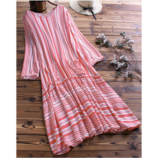 Striped Stitching Pleated 3/4 Sleeve Dress