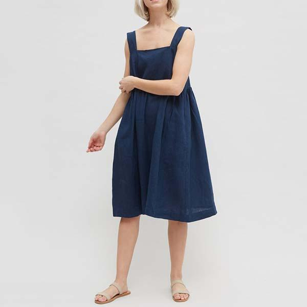 Casual Sleeveless Solid Color Loose Dress