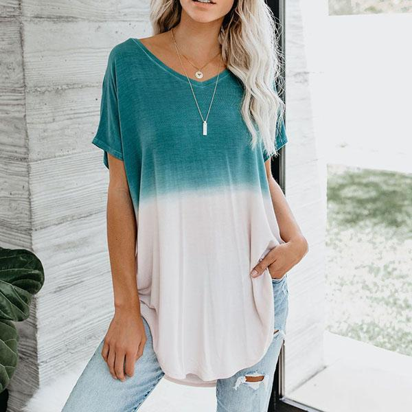 Casual Gradient Short Sleeve Round Neck Blouse