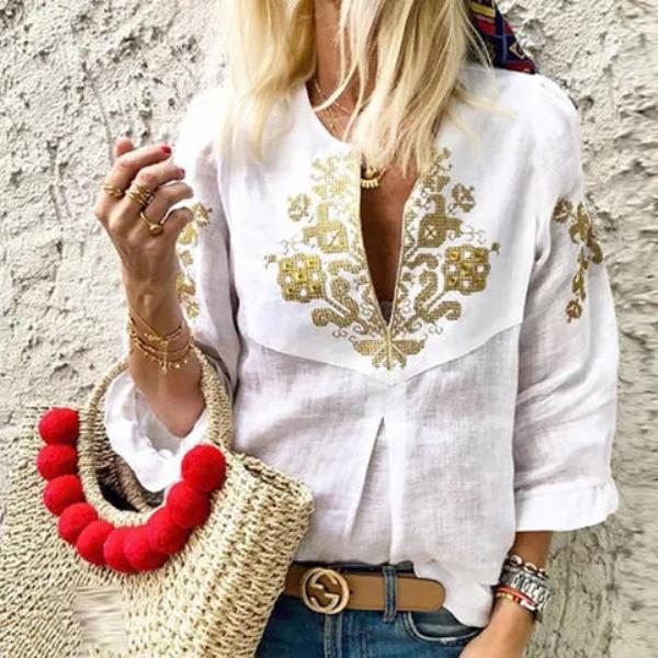 V neck Casual Tribal Printed Frill Sleeve Blouse