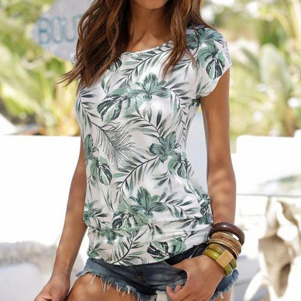 Solid Color Casual Short-Sleeved Sexy Slim Printed T-Shirt