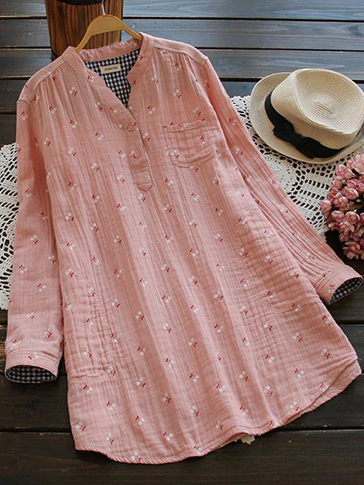 Vintage Printed V-Neck Long Short Sleeve Women Blouses