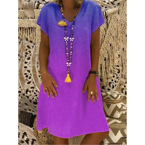 Fashion Gradient V-Neck Short-Sleeved Dress