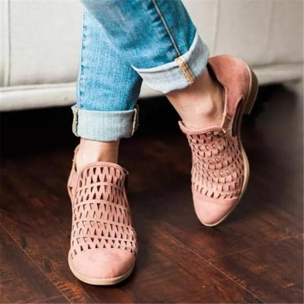 Women's Plus Size Hollow out Chunky Booties