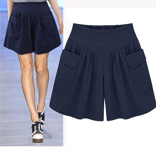 Casual Wide Legs Elastic High Waist Solid Shorts With Pocket