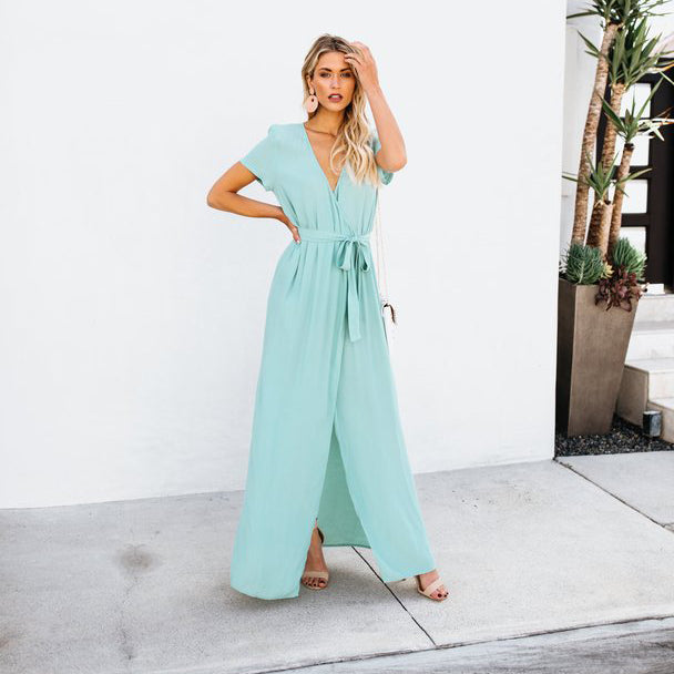 Elegant Solid Short Sleeve V Neck Waist Tie High Slit Maxi Dress