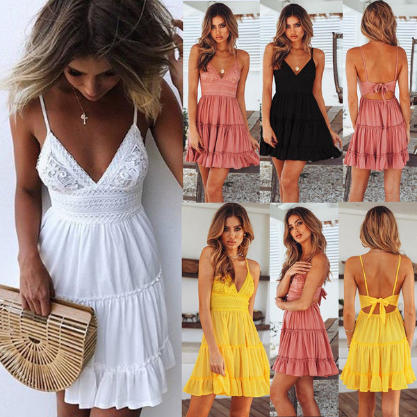 Lace Strap Stitching Female Dress Sexy Halter Bow Princess Dress