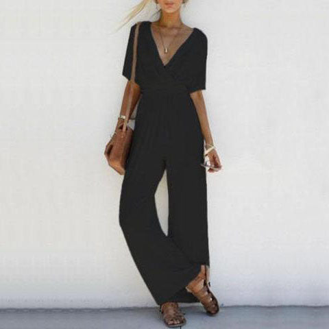 Off The Shoulder Deep V-neck Jumpsuit