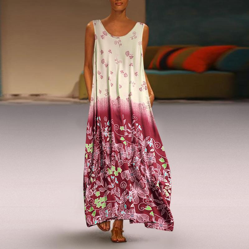 Summer Floral Print Two Pieces Patchwork Plus Size Maxi Dress