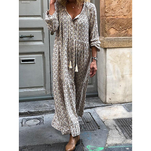 Women Summer Long Sleeve V Neck Printed Daily Dresses