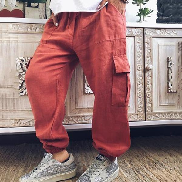 Casual Solid Color Overalls Pants