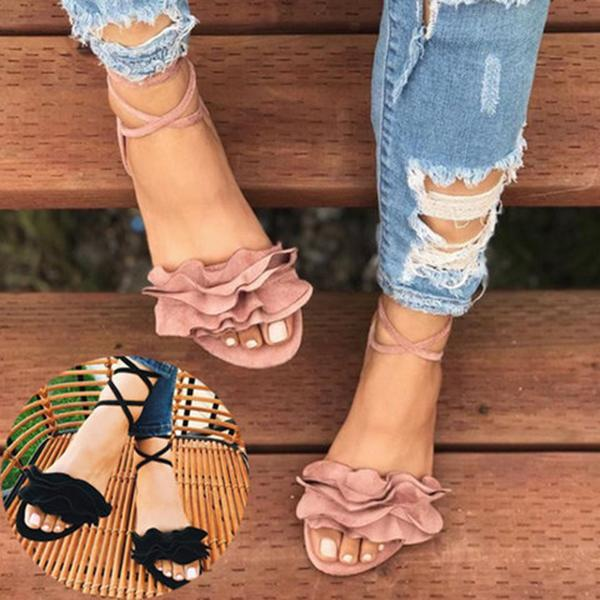 Fashion Cute Sexy Chic Flower Flats Sandals