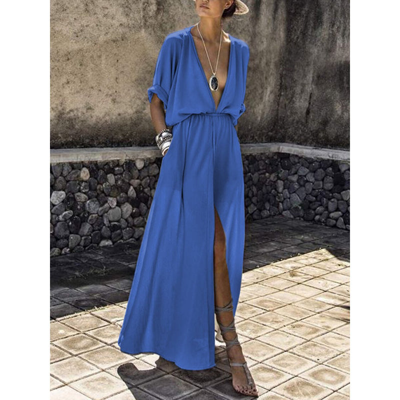 Deep V-neck Flowy Bohemian Party Maxi Dress