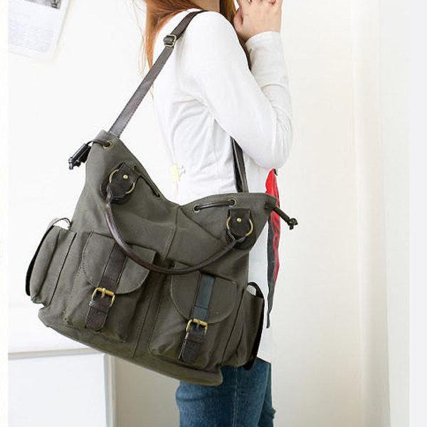 Multi-pocket Canvas Handbags Casual Crossboody Bag Leisure Shopping Shoulder Bags