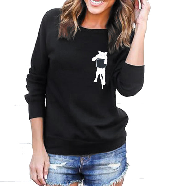 Paneled Cute Crew Neck Animal Sweaters