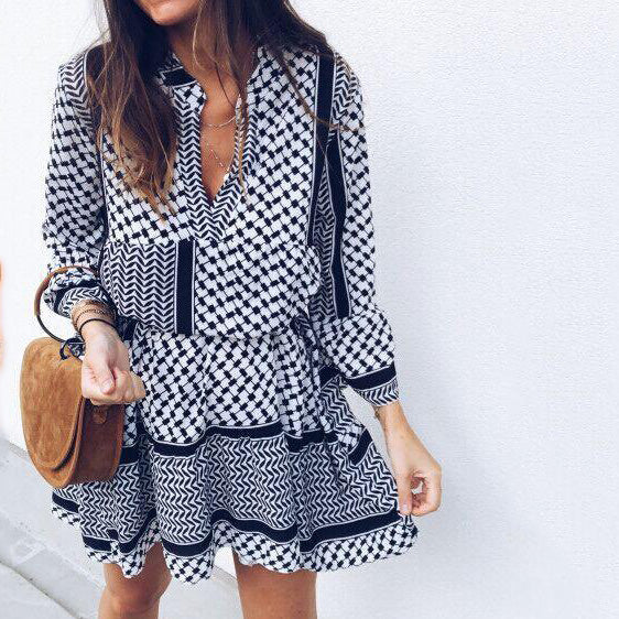 Women Navy Blue Long Sleeve V Neck Dresses