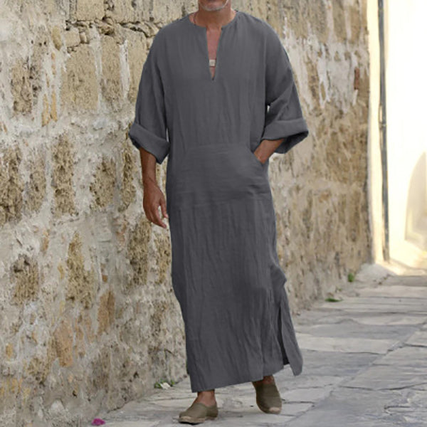 Kaftan Mens Vintage Loose Splits Tops