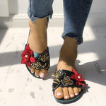 Bee & Floral Embellished Single Strap Flat Sandal