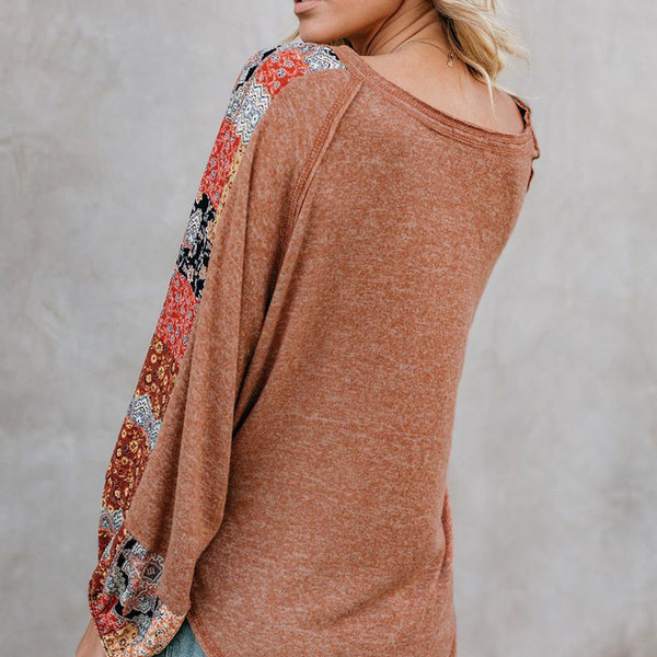 V Neck Floral Printed Casual Blouses