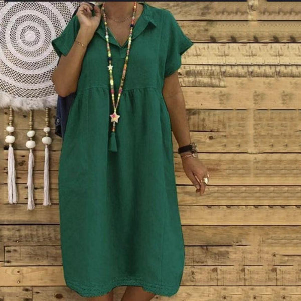 Plus Size Linen Cotton Short Sleeve Midi Dress
