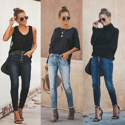 Fashion Skinny Ripped Denim Jeans