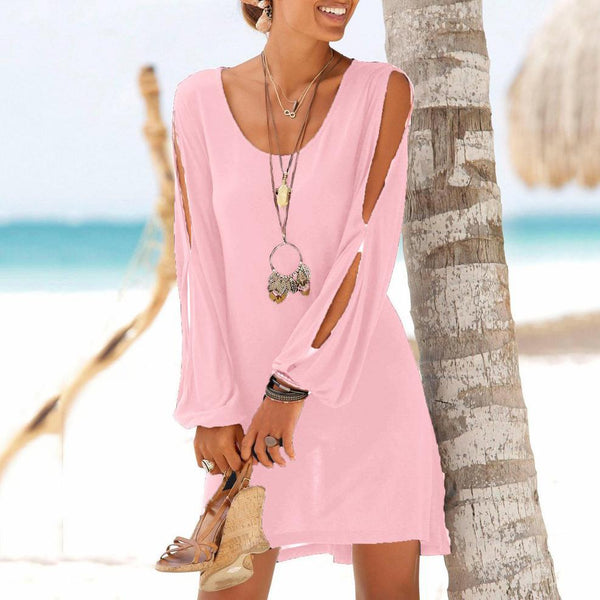 Deep V-Neck Loose Long-Sleeved Casual Beach Dress