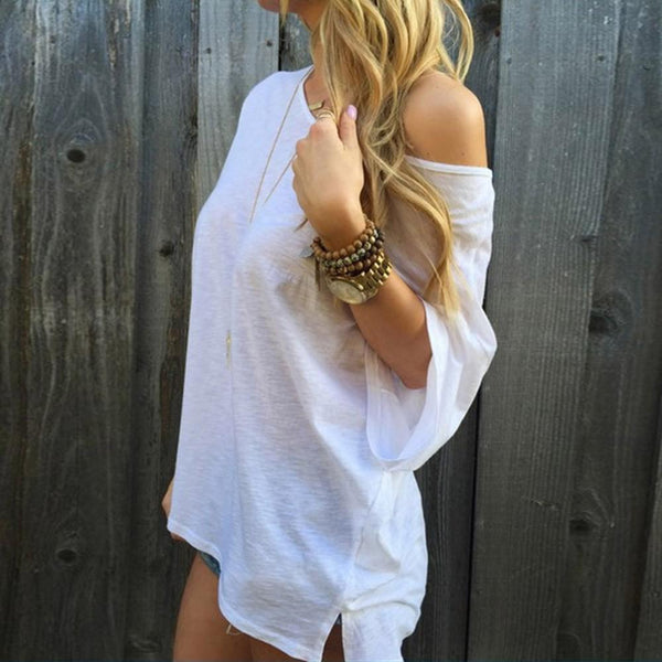 Summer Solid Loose 1/2 Sleeve T-Shirt