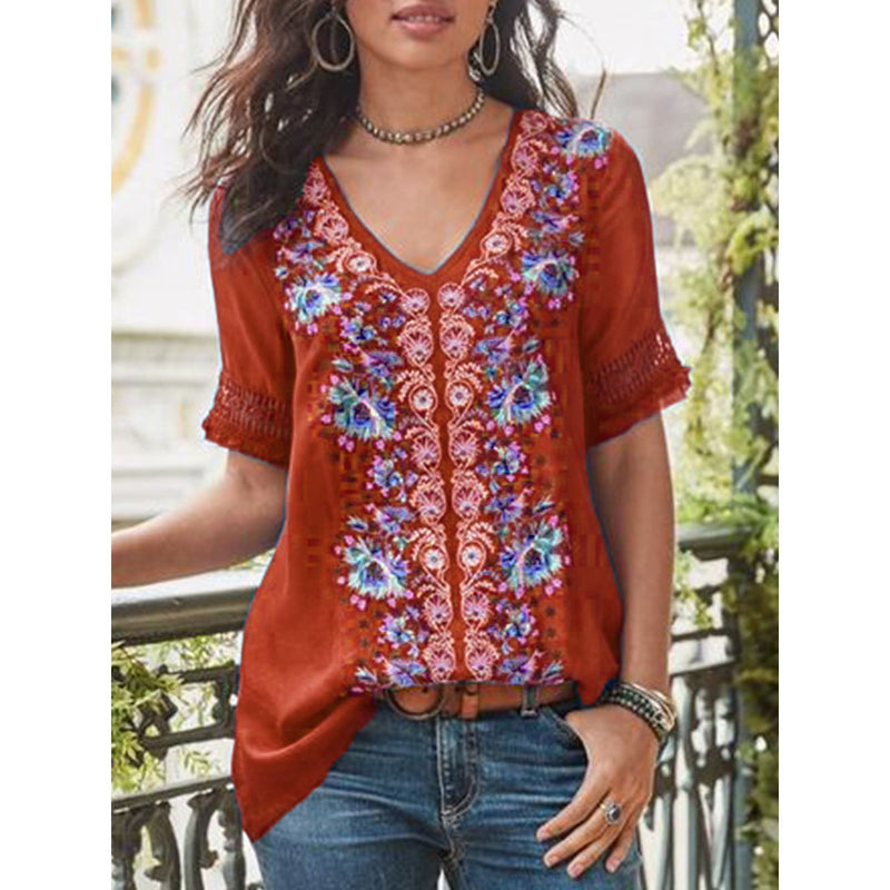 Short-Sleeve Cotton Blend Patchwork V Neck Shirts