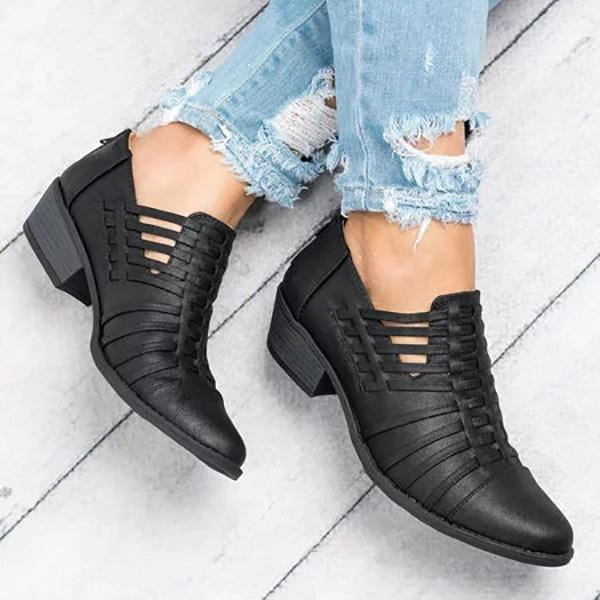 Women Plus Size Faux Leather Booties with Zipper