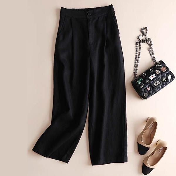 Women's Casual Linen Wide-Leg Pants