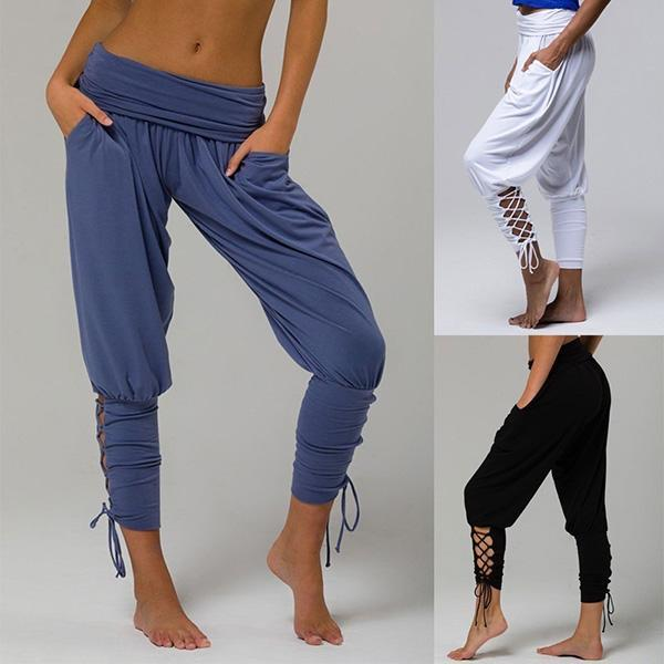 High-Waist Cross Tied Pants with Pocket