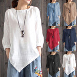 Vintage Cotton Linen Long Sleeve Shirt Loose Blouse