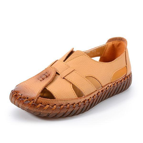Plus Size Female Leather Fisherman Hollow Out Flats
