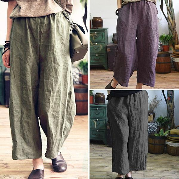 Plus Size Cotton&Linen Loose Wide Leg Pants