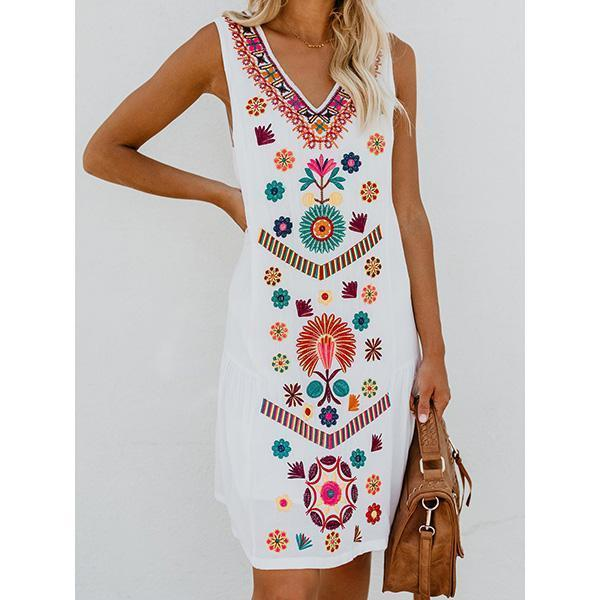 White V neck Shift Sleeveless Mini Dress