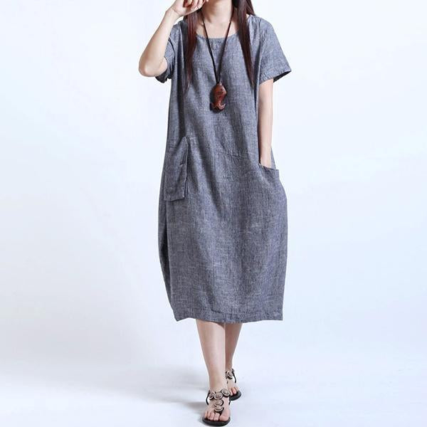 Loose Cotton & Linen Pocket Dress
