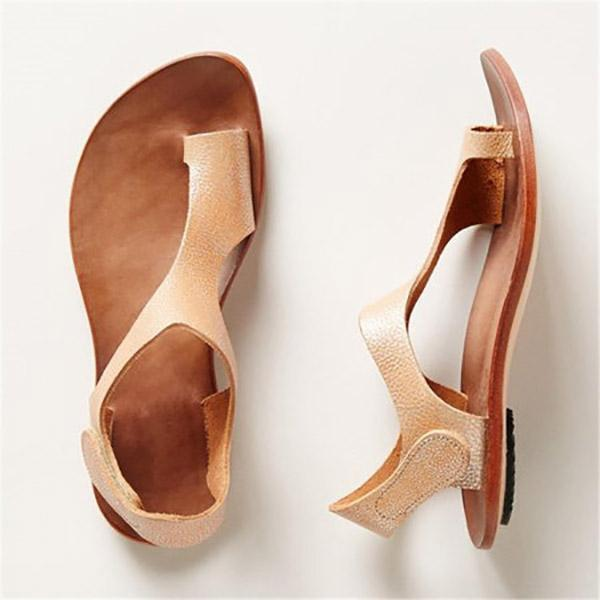Women Magic Tape Flat Heel Sandals